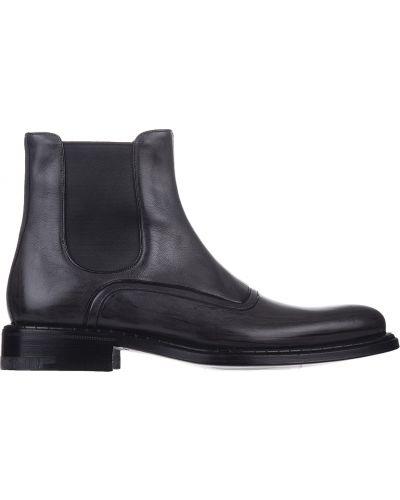 Кожаные ботинки - черные A.testoni