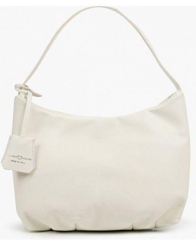 Белая сумка с ручками из натуральной кожи Marina Volpe