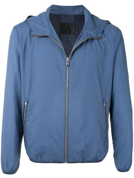 С рукавами хлопковая синяя облегченная куртка с капюшоном D'urban