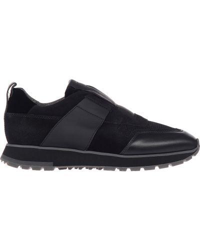 Текстильные кроссовки - черные Santoni