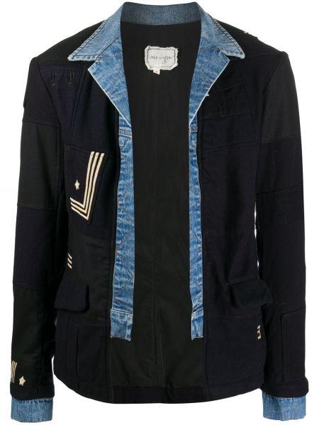 Czarne jeansy z haftem zapinane na guziki Greg Lauren
