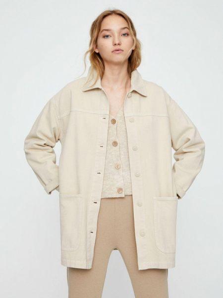 Джинсовая куртка с медведем - бежевая Pull&bear