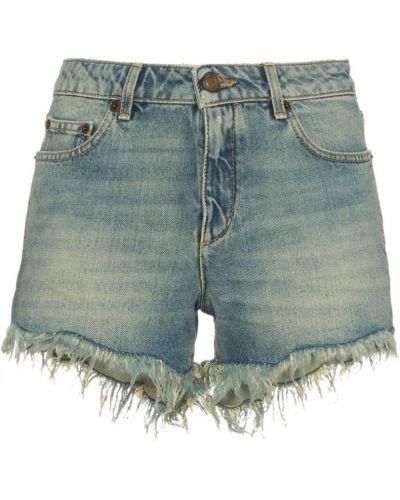 Джинсовые шорты с заниженной талией синий Saint Laurent