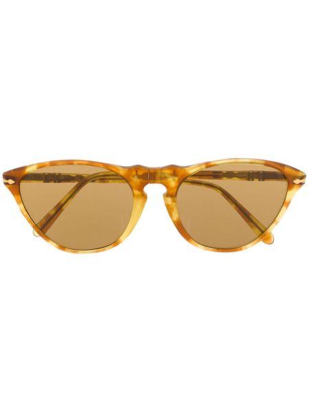 Прямые коричневые солнцезащитные очки круглые Persol Pre-owned
