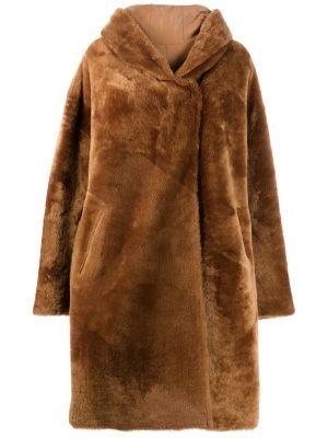 Кожаное длинное пальто оверсайз с капюшоном Liska