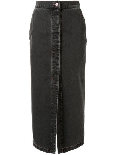 Кожаная юбка джинсовая на пуговицах Vivienne Westwood Anglomania