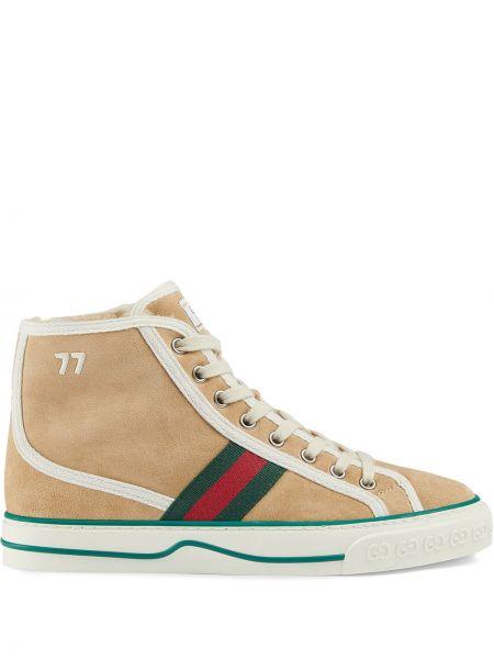 Biały ażurowy sneakersy na sznurowadłach okrągły Gucci