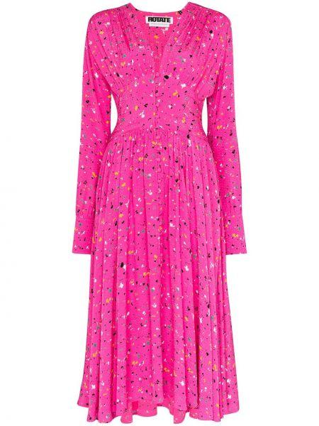 Платье миди розовое на пуговицах Rotate
