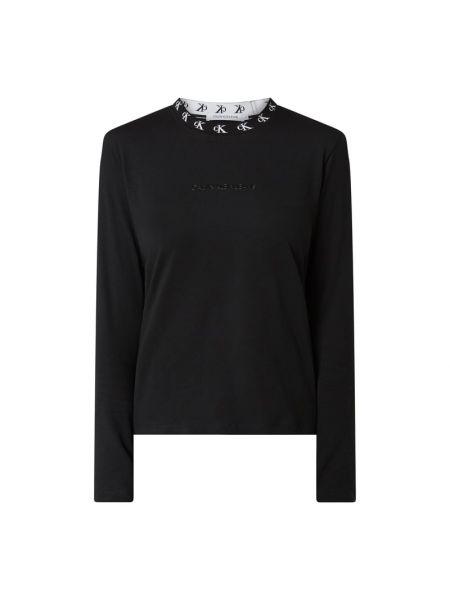 Bawełna bawełna czarny bluzka z długim rękawem ze stójką Calvin Klein Jeans