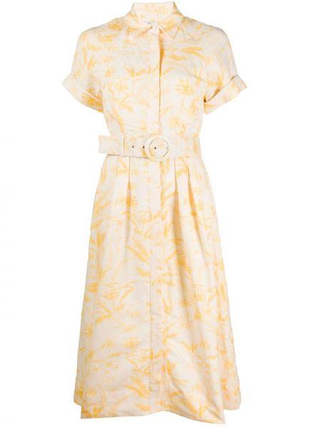 Платье с поясом на пуговицах с цветочным принтом Rebecca Vallance