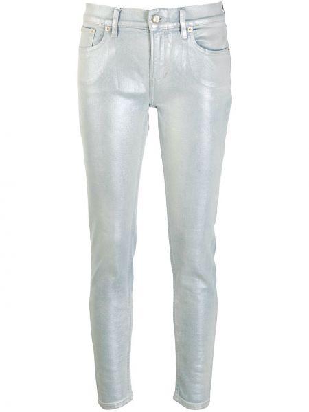 Кожаные синие джинсы-скинни с низкой посадкой Ralph Lauren Collection