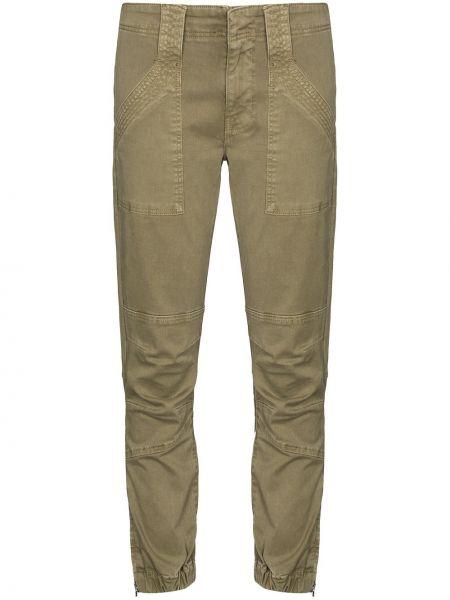 Хлопковые зеленые брючные укороченные брюки Frame