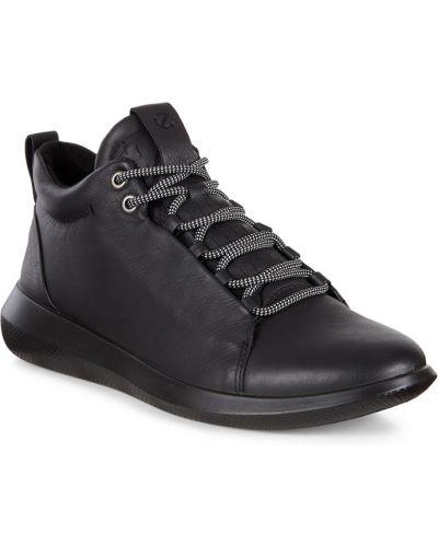 Высокие кроссовки черные зимние Ecco
