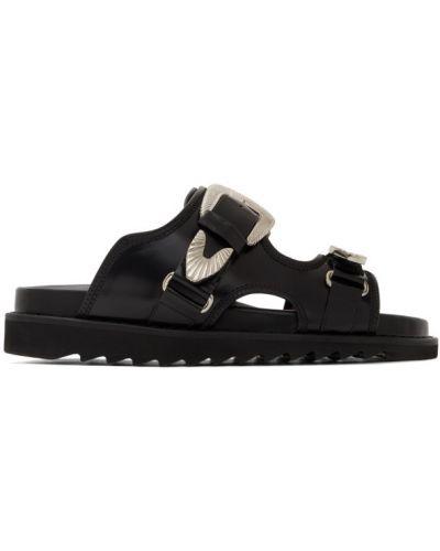 С ремешком черные кожаные сандалии на липучках Toga Virilis
