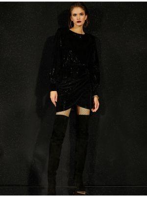 Sukienka wieczorowa z długimi rękawami - czarna Koton