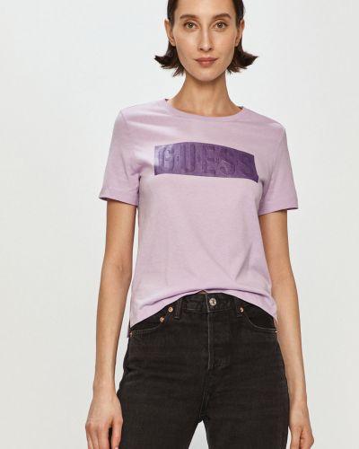 Fioletowy t-shirt bawełniany na co dzień Guess