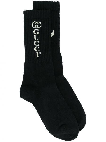 Хлопковые черные носки в рубчик Gucci