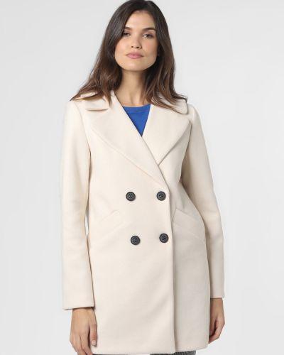 Beżowy płaszcz dwurzędowy z bursztynem Amber & June