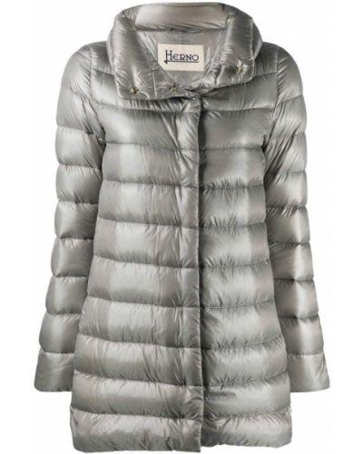 Длинное пальто стеганое серое Herno