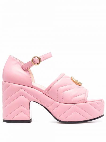 Sandały skórzane na obcasie - różowe Gucci