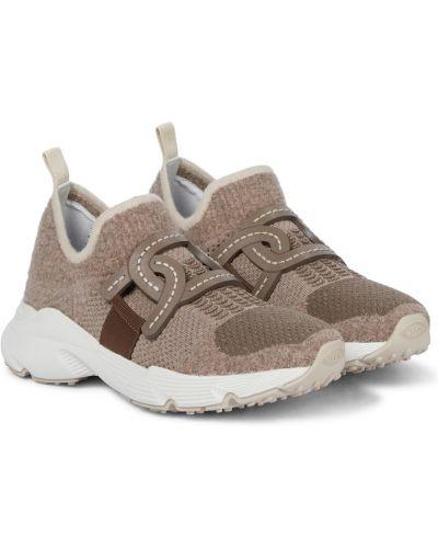 Beżowe sneakersy z siateczką Tod's