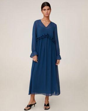 Платье миди с V-образным вырезом с оборками Mango