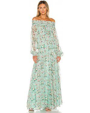 Синее шифоновое платье макси с декольте с манжетами Eywasouls Malibu