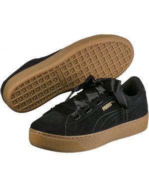 Замшевые черные кроссовки на платформе для сна на шнурках Puma