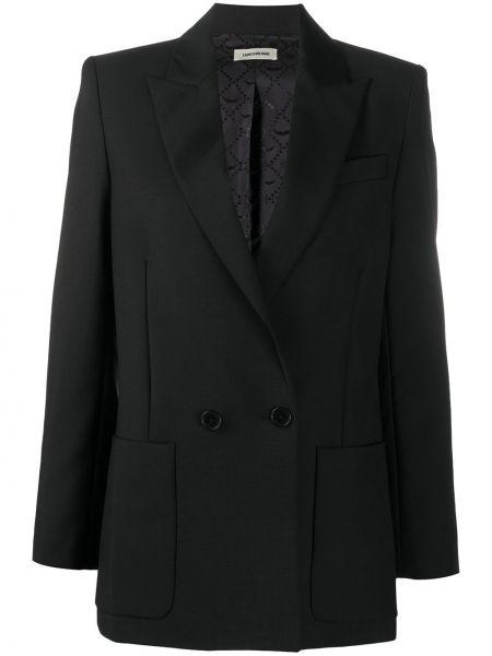 Шерстяной черный удлиненный пиджак двубортный Zadig&voltaire