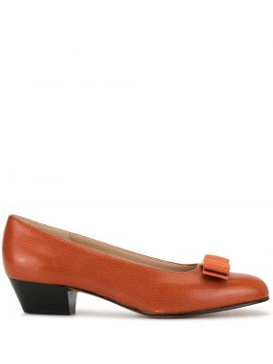 Туфли-лодочки хаки без застежки винтажные на каблуке Salvatore Ferragamo Pre-owned