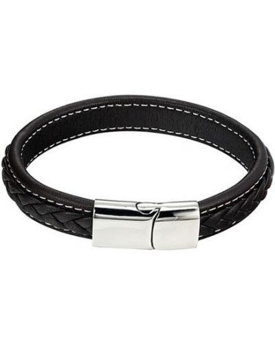 Плетеный браслет черный кожаный Evora