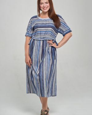 Свободное летнее платье из штапеля с манжетами с карманами Mari-line