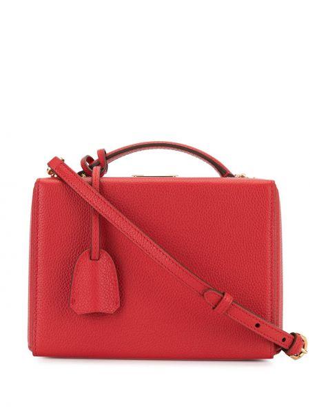 Кожаная красная сумка-тоут с декоративной отделкой матовая Mark Cross