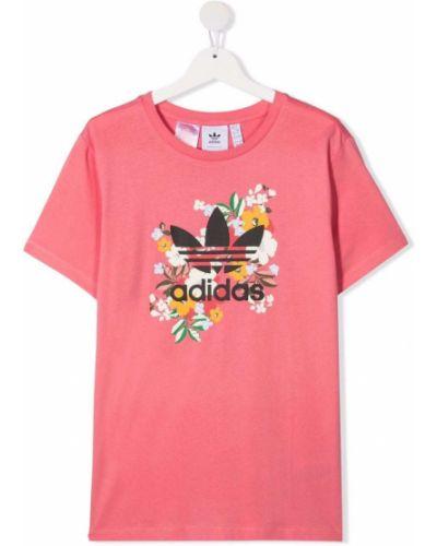 Хлопковая футболка с вырезом с короткими рукавами Adidas Kids