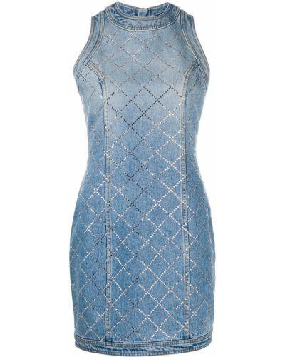 Облегающее синее джинсовое платье с вырезом Balmain