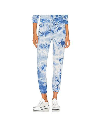 С кулиской синие махровые брюки на резинке эластичные Enza Costa