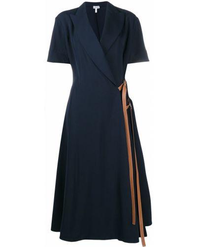 Кожаное платье миди с запахом с V-образным вырезом с короткими рукавами Loewe