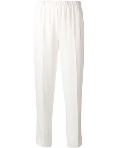 Белые брюки с поясом с высокой посадкой Escada
