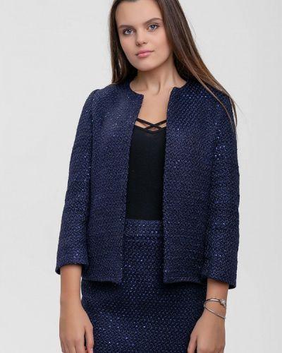 Синий вязаный юбочный костюм Sfn
