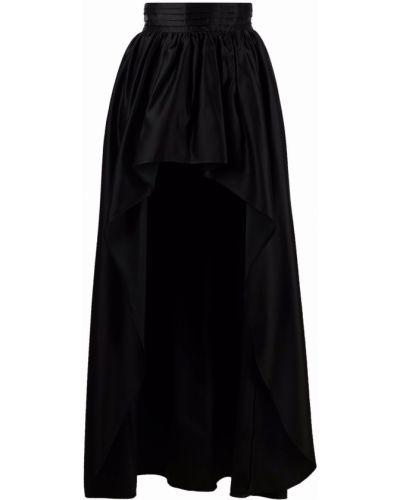 С завышенной талией черная юбка с разрезом Wandering