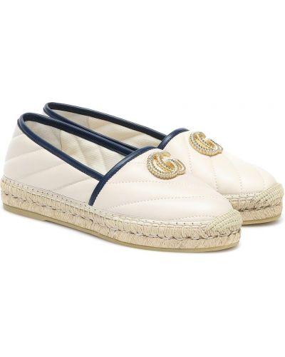 Белые кожаные эспадрильи на каблуке Gucci