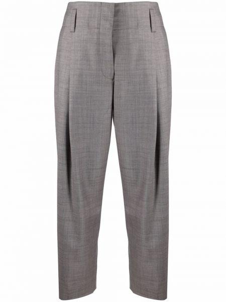 Прямые серые укороченные брюки с карманами Paul Smith