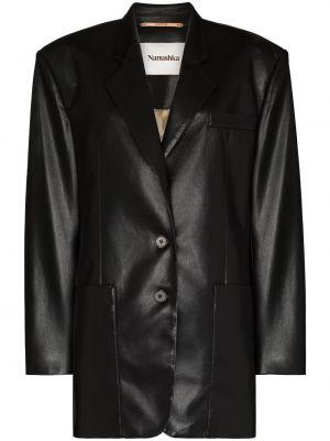 Однобортный черный удлиненный пиджак с карманами Nanushka