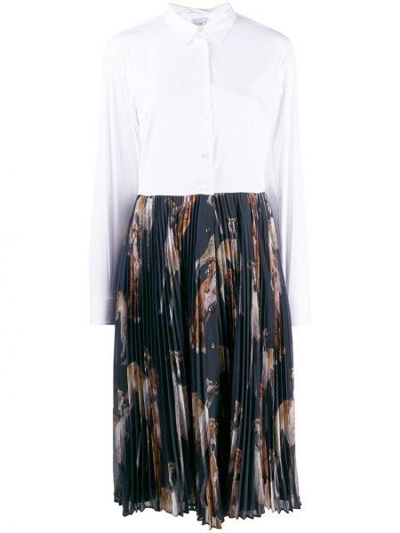 Темно-синее классическое платье макси с длинными рукавами с воротником Sara Roka