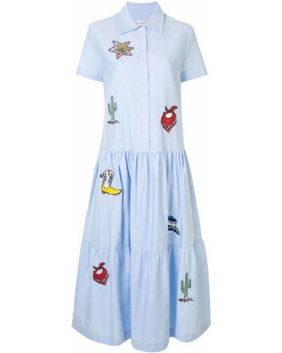 Классическое платье миди с вышивкой на пуговицах с воротником Mira Mikati