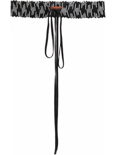 Вязаный черный ремень из вискозы с завязками Missoni