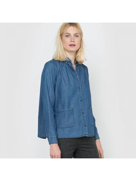 Джинсовая рубашка с длинным рукавом хлопковая La Redoute Collections