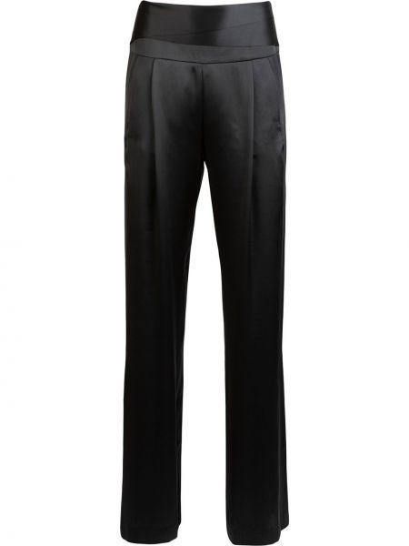 Шелковые черные прямые брюки с карманами с высокой посадкой Michelle Mason