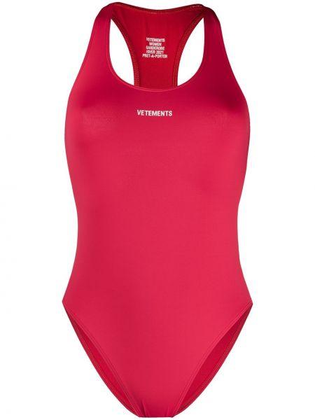 Пляжный красный купальник с шортами с вырезом эластичный Vetements