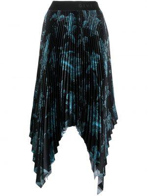 Spódnica plisowana w kwiaty - czarna Givenchy